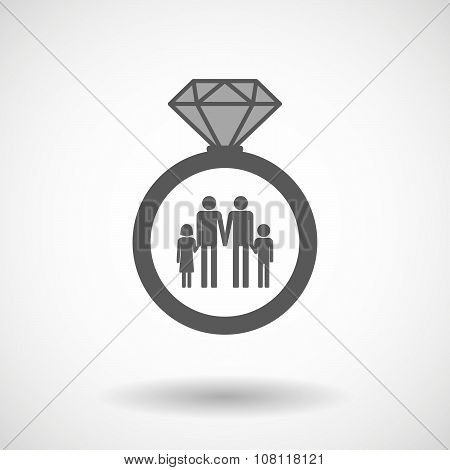 Isolated Vector Ring Icon With A Gay Parents  Family Pictogram