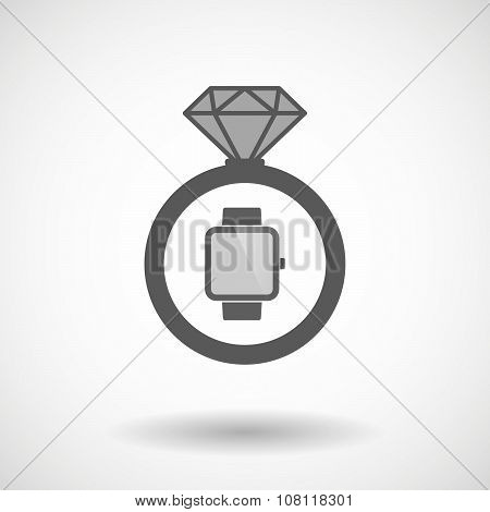 Vector Ring Icon With A Smart Watch