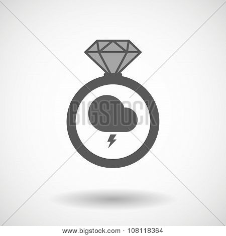 Vector Ring Icon With A Stormy Cloud