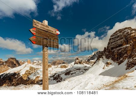 Tourist Paths Directions Dolomiti Mountains, Italy
