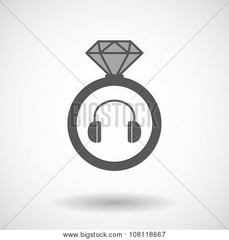 Vector Ring Icon With A Earphones