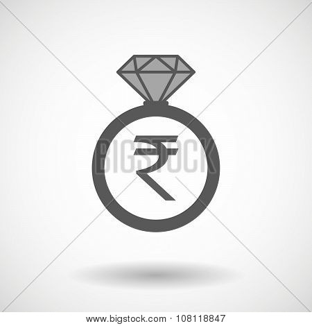Vector Ring Icon With A Rupee Sign