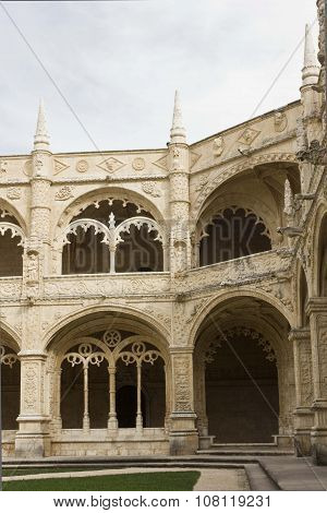 Lateral View Of The Internal Cloister Of Jeronimos Monastery