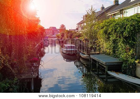 Narrow Canal Between The Buidings In Zwanenburg, The Netherlands