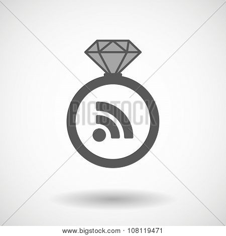 Isolated Vector Ring Icon With An Rss Sign