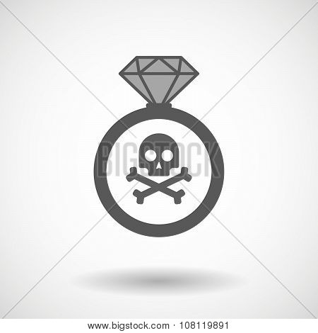 Isolated Vector Ring Icon With A Skull