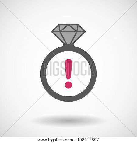 Isolated Vector Ring Icon With An Exclamarion Sign