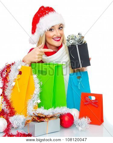 Smile Santa Claus Woman With Shopping Bags Holding Gift. Isolated On White, Close Up