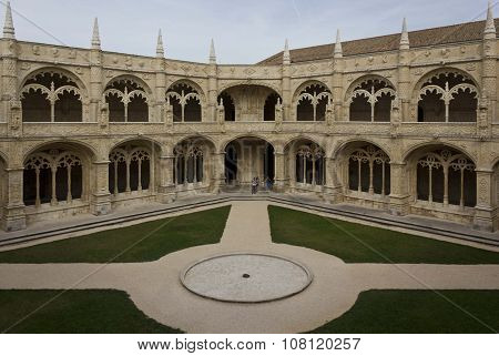 Indoor Cloister Of The Ancient Jeronimos Monastery