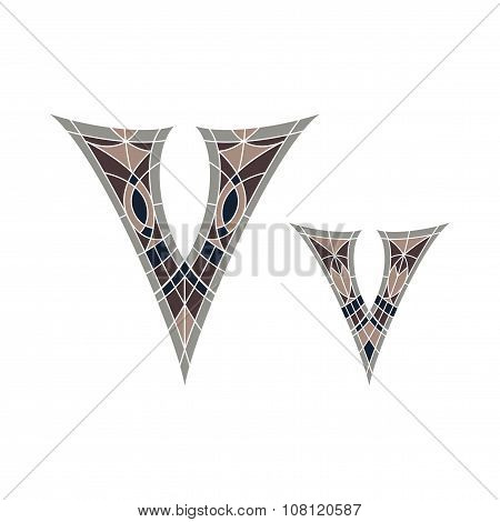 Low poly letter V in brown mosaic polygon