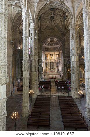 Church Interiors Of The Jeronimos Monastery In Lisbon