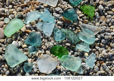 Colored Smooth Small Peaces Of Glass Polished By Baikal Lake Water