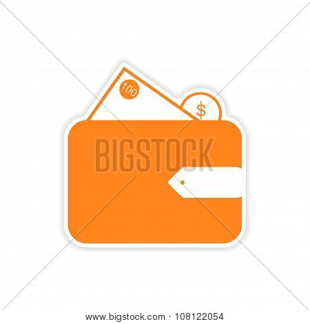 stylish sticker on paper purse and money