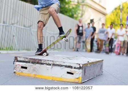Boys skateboarding on street. Urban life.