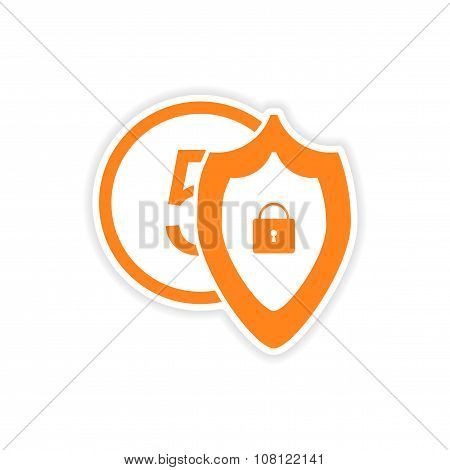 stylish sticker on paper Coin and Shield