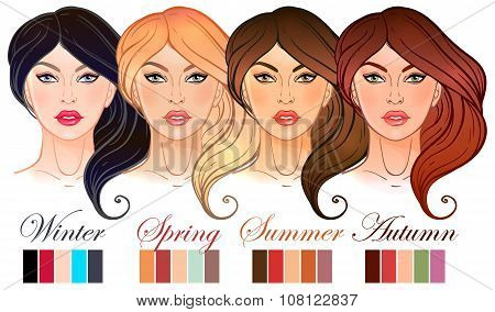 Seasonal color types for women skin beauty set.