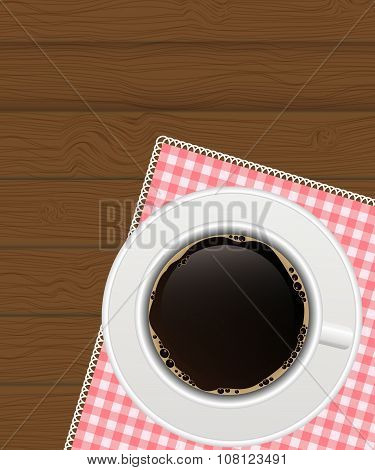 Black Coffee Background. Photo-Realistic Vector