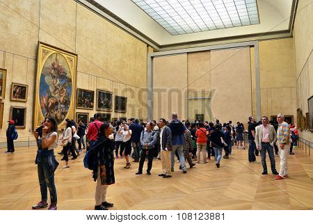 Paris, France - May 13, 2015: Visitors Louvre Museum, Paris