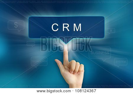 Hand Clicking On Crm Or Customer Relationship Management Button
