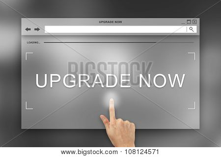 Hand Press On Upgrade Now Button On Website