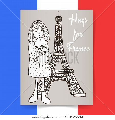 Sketch Condolences For France Poster
