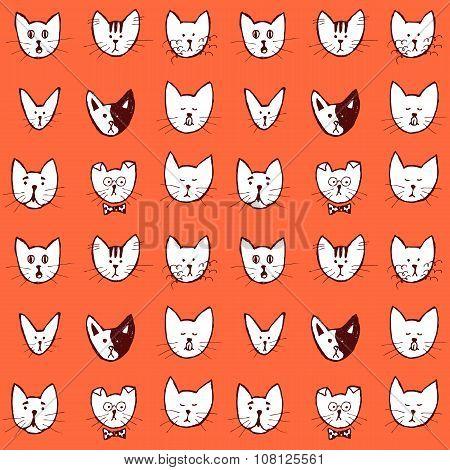 Sketch Cat Face Seamless Pattern