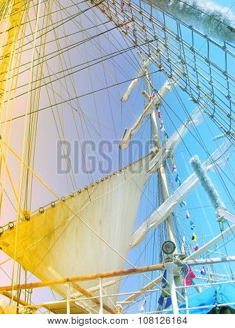 Big sails of sail ship.