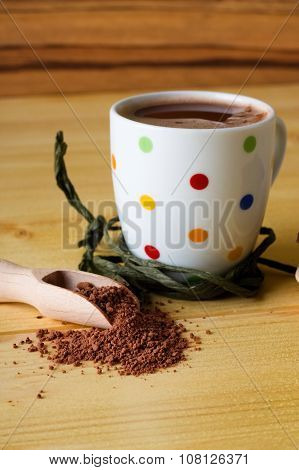 Hot Chocolate Powder In Wooden Spoon
