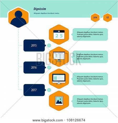 Timeline Infographic Design Bule And Yellow Color