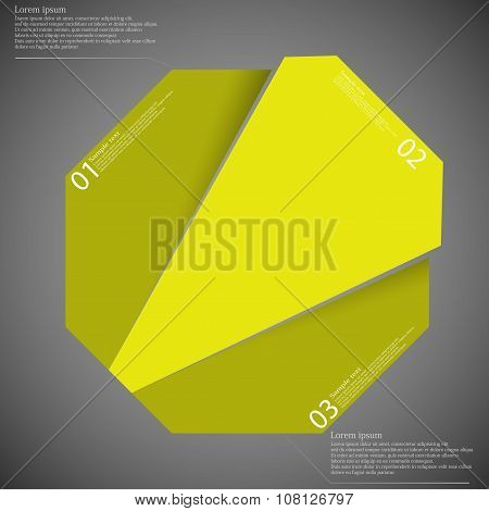 Infographic Template With Yellow Octagon Randomly Divided To Three Parts