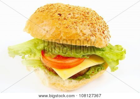 Big tasty hamburger with cheese close up on white background