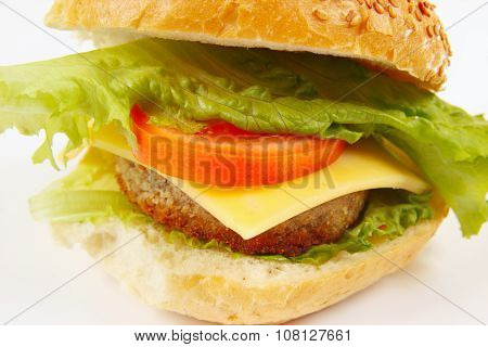 Big flavorful sandwich with cheese and chop on white background