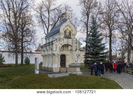Suzdal, Russia -06.11.2015. tomb of Prince Pozharsky at Spaso Efimievskom monastery, built  1885. Go