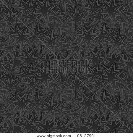 Black seamless twisted star pattern background