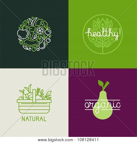 Vector Logo Design Template With Fruit And Vegetable Icons In Trendy Linear Style