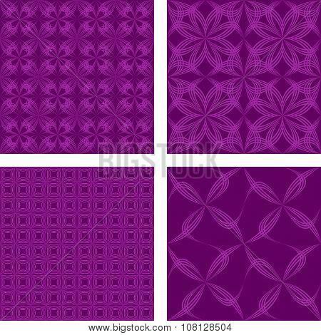 Magenta seamless pattern background set
