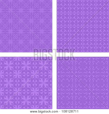 Lavender seamless pattern background set