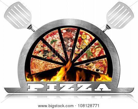 Metal Symbol Of Pizza With Flames