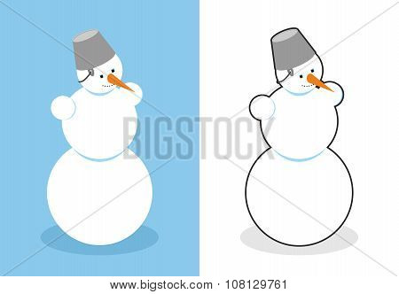 Snowman. Man Made Of Snow For New Year. Cute Christmas Character Out Of  Snow. Bucket On Your Head A