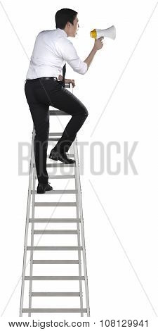 Asian Man Holding Megaphone On The Ladder