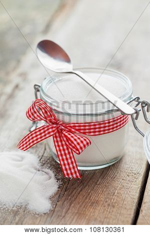 Sugar Bowl With Spoon On Kitchen Table