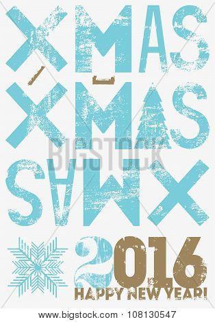 Typographical vintage style Christmas card or poster design. Retro grunge vector illustration.
