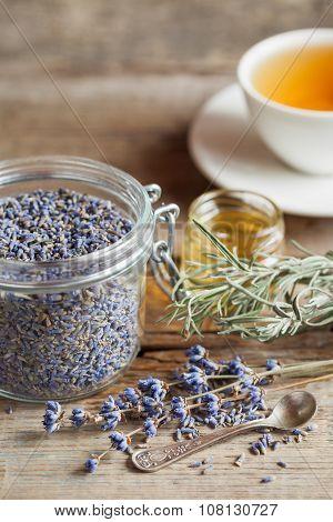 Healthy Lavender Herbal Tea, Dry Lavender Flowers, Honey Jar And Tea Cup