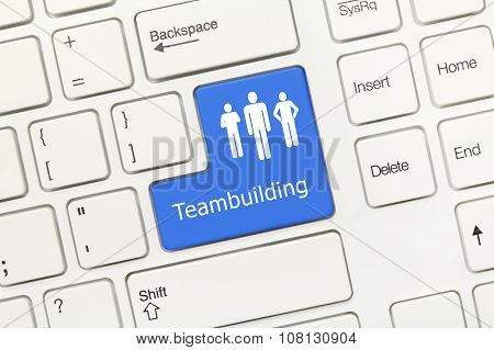 White Conceptual Keyboard - Teambuilding (blue Key)