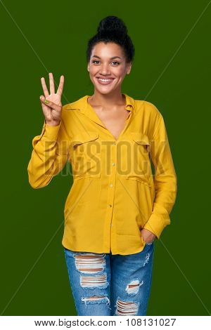 Woman showing three fingers