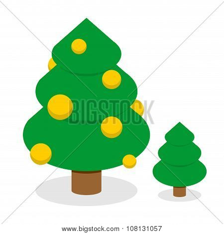 Christmas Tree With Gold Balls. Decorated Holiday Tree With Christmas Toys. Set Of Trees: Tree With
