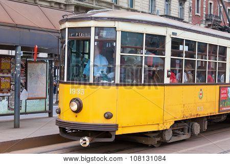 Ancient Wooden Tram In Milan.