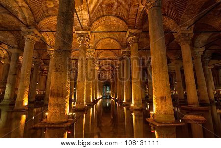 Basilica Cistern In Istanbul.