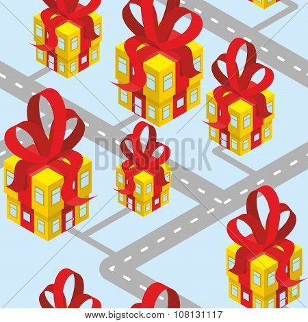 City Presents Seamless Pattern. Building Of  Gift Box With Red Bow. Background For New Year Or Birth
