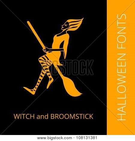 Halloween alphabet letter X consist of witch and broomstick
